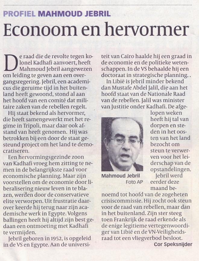 Profiel Mahmoed Jabril de Volkskrant 25 maart 2011