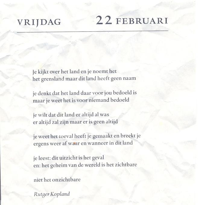 Een je-gedicht van Rutger Kopland. U ziet: het lag al in de prullenmand.