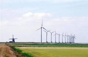 Links ziet Goliath. Die turbines ernaast zijn Catharina, Arnoldine, Hubertina, Henrica, Jan en Egbert. De andere hebben nog geen naam. De beste suggesties worden beloond.