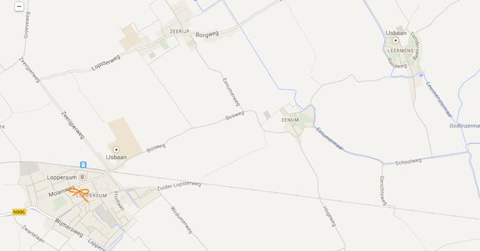 Net vandaag is de Bosweg bij Loppersum afgesloten. Ik moet voor mijn exemplaar dus omrijden via Zeerijp.