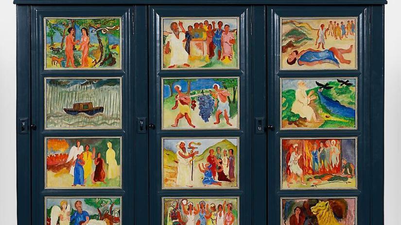 Deel van de kast die Hendrik Werkman beschilderde met bijbelse voorstellingen